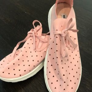 Not rated pink suede lace up sneakers